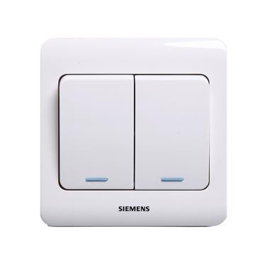 西门子SIEMENS 远景系列二位单控大跷板开关(带荧光指示),5TA01151CC1 雅白
