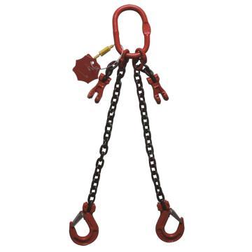 多来劲 80级双腿链条索具,2.8T×1m(总长) 羊角带舌吊钩 ,19440802 01