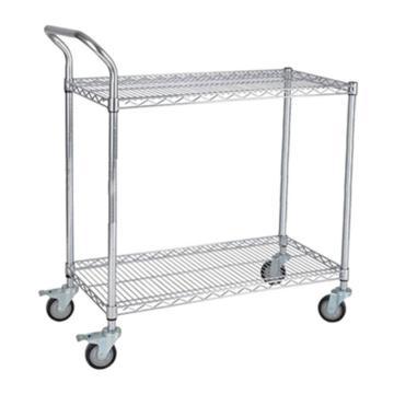 三威 不锈钢网层手推车,单扶手 承重250kg,不锈钢网层手推车 907*457*1000mm两层