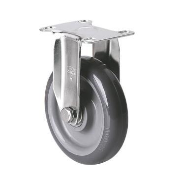 易得力(EDL) 定向聚氨酯(PU)脚轮,脚轮不锈钢轴承4寸90kg,S34704-S344-76