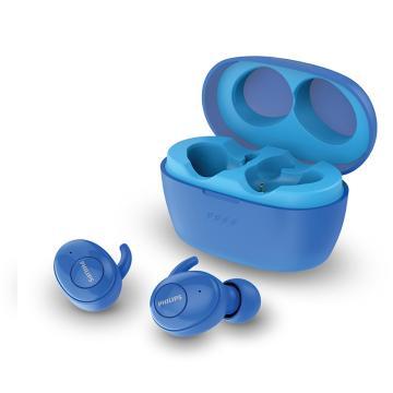 飞利浦真无线蓝牙耳机,T3215蓝 入耳式防水音乐耳机 持久续航 鳍状耳翼 苹果安卓手机通用