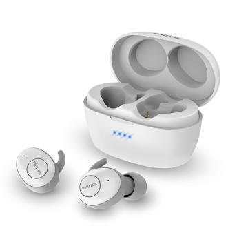 飞利浦真无线蓝牙耳机,T3215白 入耳式防水音乐耳机 持久续航 鳍状耳翼 苹果安卓手机通用
