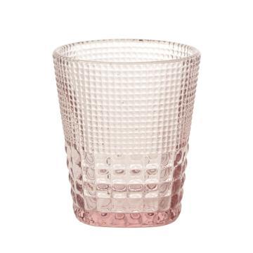 唐年 漱口杯,HLY0938C 敞口机制玻璃钻石纹浅粉色 300ml 单位:个