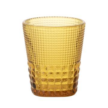 唐年 漱口杯,HLY0938C 敞口机制玻璃钻石纹琥珀色 300ml 单位:个