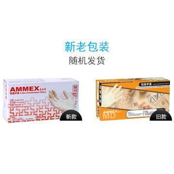 爱马斯AMMEX 无粉一次性手套,TLFCVMD42100,橡胶材质 (经济型无粉掌麻,S,100只/盒