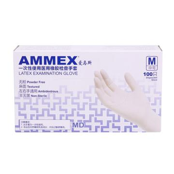 爱马斯AMMEX 无粉一次性手套,TLFCMD42100,橡胶材质 (耐用型 无粉掌麻S,100只/盒 10盒/箱