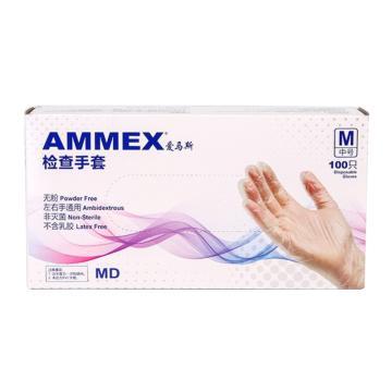 爱马斯AMMEX 无粉一次性手套,GPX3C44100,一次性PVC手套 无粉光面M,100只/盒 10盒/箱