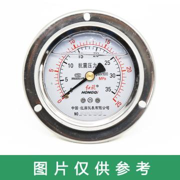 红旗 耐震压力表,YTN-60ZT 碳钢+铜 轴向带边 M14×1.5 0~1.6MPa