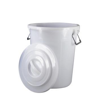 滋仁 圆形带盖垃圾桶水桶,40L 塑料柄 白色 LT-102 单位:个