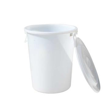 滋仁 圆形带盖垃圾桶水桶,80L 塑料柄 白色 LT-024 单位:个