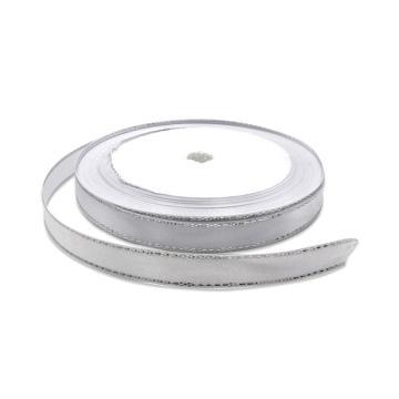 安赛瑞 金边丝带,涤纶,(宽×长):1cm×22m,白色银边(5卷装,包),25116