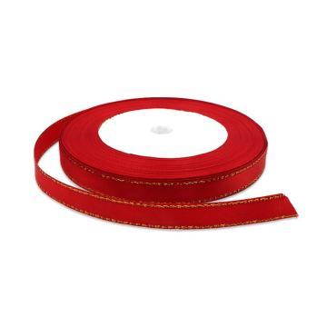 安赛瑞 金边丝带,涤纶,(宽×长):1cm×22m,红色金边(5卷装,包),25115