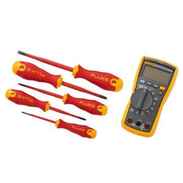 福祿克/FLUKE 117電工萬用表+絕緣手動工具入門工具包(5把絕緣螺絲刀和3把絕緣鉗子),IB117K