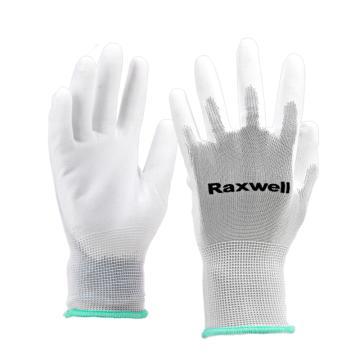 Raxwell 涤纶针织PU工作手套(掌浸),13针,M码,RW2433,10副/包