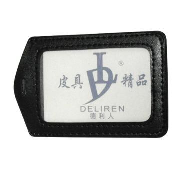 仿皮胸卡套, 竖式 7.3*10cm 厚(黑色) 单位:个