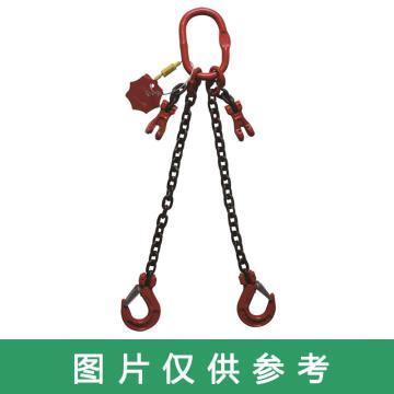 多来劲 80级双腿链条索具,1.6T×1m(总长) 羊角带舌吊钩 ,19440602 01