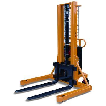 虎力 宽支腿半电动堆高车,额定载重:1T 货叉最大高度:3300mm 可调叉宽:230~790mm 黄色,MW1033