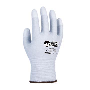 恒辉 防静电手套,PM309,13针碳纤维指浸PU防静电手套 7号,10副/包