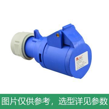 德力西DELIXI 3芯16A单相航空插头IP44防尘防水220V工业插头,DHADEP2013U