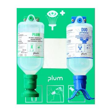 Plum 洗眼液套装-16盎司/500ml弱酸弱碱颗粒物粉尘洗眼液+酸碱双眼冲淋洗眼液+双挂板,4695