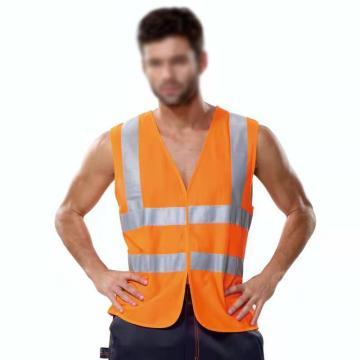 安大叔 高可视性反光背心,荧光橙,XL,A004