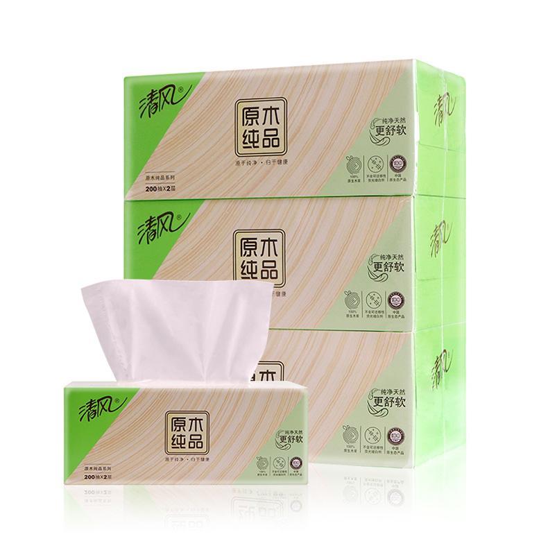 清风(Breeze)原木纯品2层抽纸,B338C1/B338C2, 200抽*3盒 单位:组