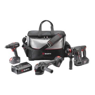 伍尔特 18V充电式工具组合套装,角磨机/电锤/电钻 4.0Ah三电一充,570141984
