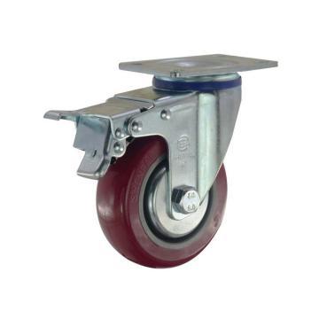 申牌 3.5寸聚氨酯中型脚轮 平底刹车 载重(kg):115 轮宽(mm):32 全高(mm):120,20A4B-1015