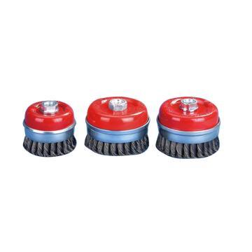 KULLEN 80mm扭杯钢丝轮,0.5mm丝径,M14 哑光喷红,RPM8500,