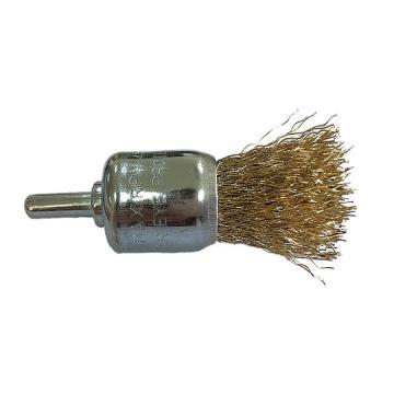 库兰带柄钢丝刷,24mm齐头刷,镀铜钢丝/0.3mm丝径 /6mm杆/镀锌/RPM20000,12个/盒