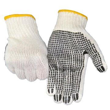 赛立特 点塑手套,ST55202-9,7针本白纱手套 手掌单面点黑色PVC点珠,12副/打