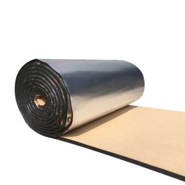 安赛瑞 隔热棉板防水反光屋顶防晒隔热保温棉,背胶方格铝箔,厚10mm,1x10m黑色