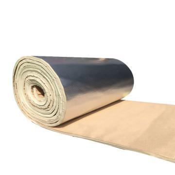 安赛瑞 隔热棉板防水反光屋顶防晒隔热保温棉,背胶方格铝箔,厚10mm,1x10m米白色
