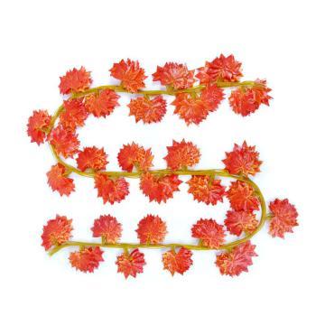 安赛瑞 仿真红枫叶绿植塑料吊顶藤蔓植物,室内装饰物,长2.2m约叶Φ6.5cm(30片叶),12条