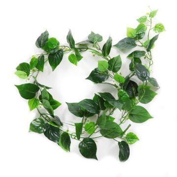 安赛瑞 仿真绿萝叶绿植塑料吊顶藤蔓植物,室内装饰物,长约2m叶Φ9cm(76片叶),1条