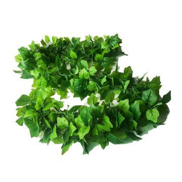 安赛瑞 仿真精品葡萄叶绿植塑料吊顶藤蔓植物,室内装饰物,长约2m叶Φ6.5cm(96片叶),5条