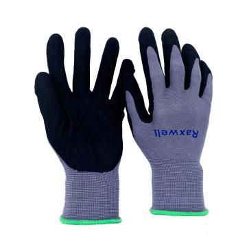 Raxwell 15针尼龙针织丁腈超细发泡手套,掌浸,M码,12副/袋,RW2457