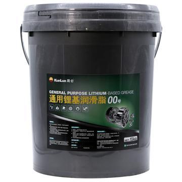 昆仑 润滑脂,通用 锂基脂 00号,15kg/桶