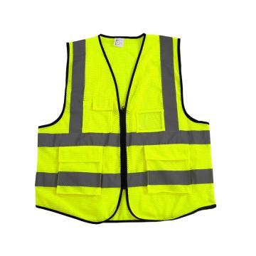 Raxwell SV-3 多袋网布拉链款反光背心,110g低弹丝涤纶精编针织网眼布,荧光黄,均码,RW8108