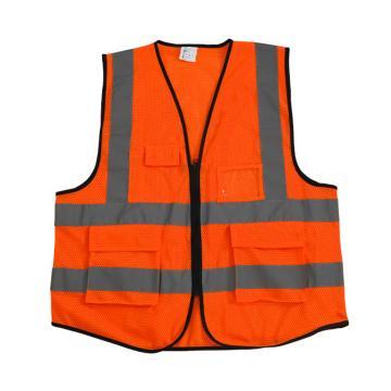 Raxwell SV-3 多袋网布拉链款反光背心,110g低弹丝涤纶精编针织网眼布,荧光橘,加大码,RW8111