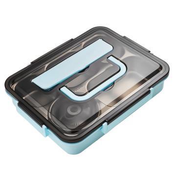 诺派( NUOPAI) C6482,保温饭盒成人餐盒304不锈钢,蓝色五格【送餐具+汤碗+保温袋】