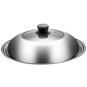 诺派( NUOPAI) C6182,不锈钢玻璃盖炒锅盖,煎锅盖火锅可视加厚防溢防烫盖蒸锅盖φ30