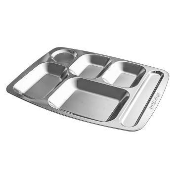 诺派( NUOPAI)C6770,304不锈钢快餐盘6格,成人学生食堂饭盒分格,不锈钢饭盘