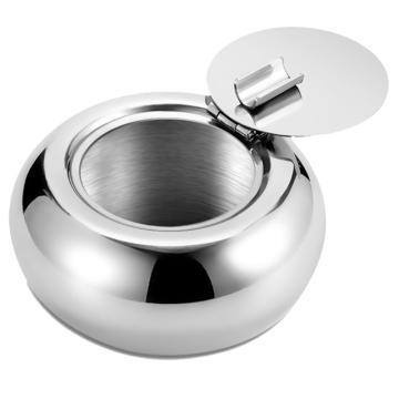 诺派( NUOPAI) C6753,不锈钢带盖烟灰缸,加厚创意鼓形烟盅,车用圆形烟缸