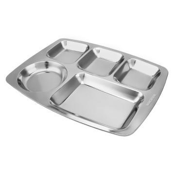 诺派( NUOPAI) C6771,304不锈钢5格快餐盘,成人学生食堂餐盘分格不锈钢饭盘