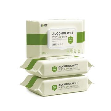 EHS 酒精卫生湿巾,AC6014 50抽/包 75%酒精消毒湿巾 单位:包