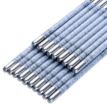 唐宗筷 A844,5双装,不锈钢印花金属筷(单位:包)