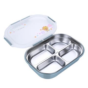 诺派(NUOPAI) C6017,304不锈钢餐盘4格饭盒,圆形密封保温快餐饭盒,便携可爱多层不绣钢,学生饭盒
