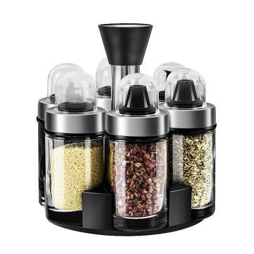 诺派(NUOPAI) C6079,旋转调料罐套装,调味罐,厨房调料瓶,盐罐调味瓶罐,玻璃调料罐7件套