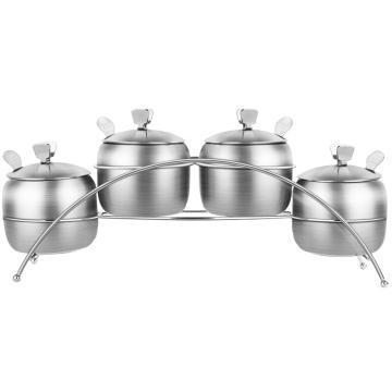 诺派(NUOPAI) C6736,304不锈钢4格调味罐,家用厨房用调味瓶,调料盒,佐料罐油罐,(带调料勺)